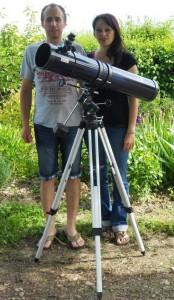 Télescope Ø 114 mm f = 900 mm f/D = 7.9, monture équatoriale sur trépied aluminium
